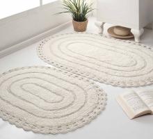 """Набор ковриков для ванной """"MODALIN"""" кружевной YANA 60x100 + 50x70 см 1/2"""
